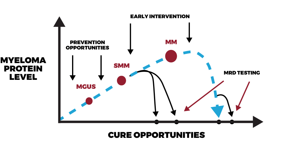 Diagram outline for achieving prevention and cure in myeloma