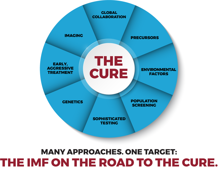 The IMF on the road to the cure. Many approaches. Global collaboration, precusors, environmental factors, population screening, sophisticated testing, genetics, early aggressive treatment, imaging. One target. The Cure